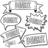 Donate labels stickers, and banners Stock Photography