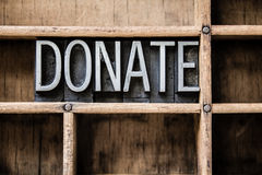 Donate Letterpress Type in Drawer Stock Images