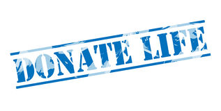 Donate life blue stamp. Isolated on white background Stock Photos