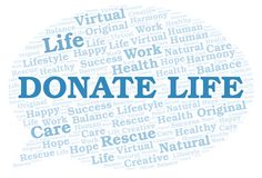 Donate Life word cloud. Wordcloud made with text only vector illustration