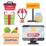 Donate money box set symbols help philanthropy donation contribution charity philanthropy humanity support vector. Contribute design sign give money stock illustration