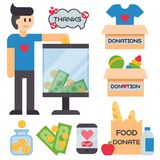 Donate money box set symbols help philanthropy donation contribution charity philanthropy humanity support vector. Contribute design sign give money Stock Photos