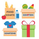 Donate money box set symbols help philanthropy donation contribution charity philanthropy humanity support vector. Royalty Free Stock Photos