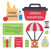 Donate money box set symbols help philanthropy donation contribution charity philanthropy humanity support vector. Contribute design sign give money Stock Images