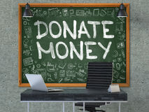 Donate Money on Chalkboard with Doodle Icons. 3D. Stock Image