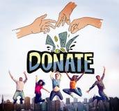 Donate Money Charity Generous Hands Concept.  Stock Images