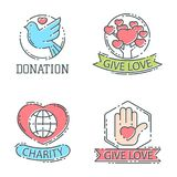 Donate money set logo icons help icon donation contribution charity philanthropy symbols humanity support vector Royalty Free Stock Image