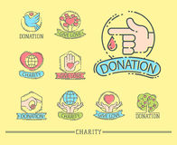 Donate money set logo icons help icon donation contribution charity philanthropy symbols humanity support vector. Donate money set log ooutline icons help icon Royalty Free Stock Image