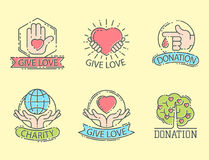 Donate money set logo icons help icon donation contribution charity philanthropy symbols humanity support vector. Donate money set log ooutline icons help icon royalty free illustration