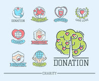 Donate money set logo icons help icon donation contribution charity philanthropy symbols humanity support vector. Donate money set log ooutline icons help icon Stock Image