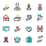 Donate money set outline icons help icon donation contribution charity philanthropy symbols humanity support vector Stock Photography