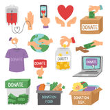 Donate money set outline icons help symbols donation contribution charity philanthropy symbols humanity support vector Stock Photography