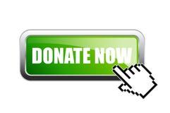 Donate now vector green banner Stock Photos