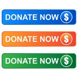 Donate now web button on white. Colorful donate web buttons on white background - vector illustration Stock Photo