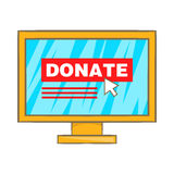 Donate online concept icon, cartoon style Stock Images