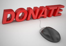 Donate online mouse and text concept Royalty Free Stock Image