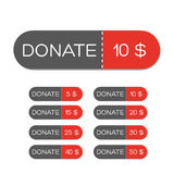 Donate red button set Royalty Free Stock Photo