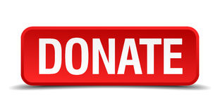 Donate red 3d square button Stock Images