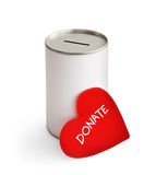Donate. Red heart and donation can on white Royalty Free Stock Photos