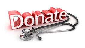 Donate text, 3d medicine Royalty Free Stock Photo