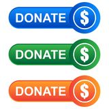 Donate web button on white. Colorful donate web buttons on white background - vector illustration Stock Image