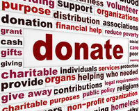 Donate word clouds concept Royalty Free Stock Images