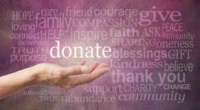 Donate Word Wall. Female hand outstretched with palm side up and a white 'donate' word floating above surrounded by different sized words related to charity on a
