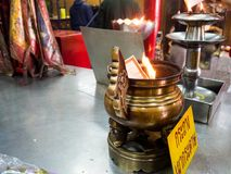 Donated coffin in Wat Hua Lamphong, Temple in Bangkok Royalty Free Stock Image