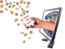 Donating different currencies through internet. Conceptual image of donating money to the world in different currencies through the internet Royalty Free Stock Image