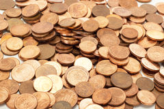 Donating lot of euro coins Royalty Free Stock Photo