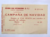 Donation av en peseta internationella röda Socorro den borgerliga spanjoren kriger Arkivfoto