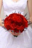 Donation. Bouquet de Compliment.Vernal des fleurs rouges chez les mains de la femme. Félicitation photo stock