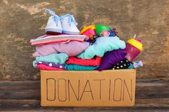 Donation box with children`s things and toys.  Stock Image