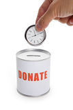 Donation Box and clock Stock Image