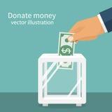 Donation box, dollar hold Stock Photos
