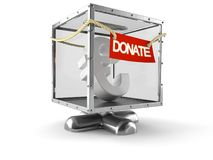 Donation box with euro currency. On white background Stock Image
