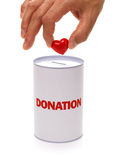 Donation box. With heart concept for charity or organ donation stock photos
