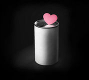 Donation box and heart shape in black Stock Photography