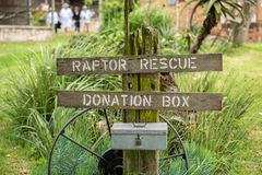 A donation box for raptor rescue. at the African Bird of Prey Sanctuary, Natal Midlands, South Africa. A donation box for raptor rescue at the African Bird of royalty free stock images