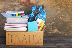 Donation box with school supplies