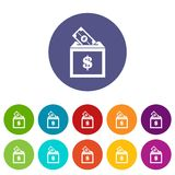 Donation box set icons. In different colors isolated on white background Stock Photo