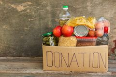 Donation Box With Food. Royalty Free Stock Photos