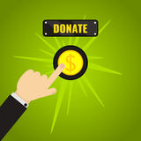Donation button concept. Man pressing donate button. Giving money, fundraising business concept. Financial contribution to charity online. Internet banking Royalty Free Stock Image