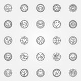 Donation and charity badges set Stock Photography