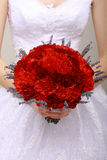 Donation. Compliment.Vernal Bouquet of Red Flowers in Woman's hands. Felicitation. Bouquet of Red Flowers. Felicitation Stock Photo