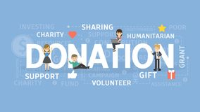 Donation concept illustration. Idea of gift, support and charity Royalty Free Stock Photos