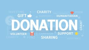 Donation concept illustration. Idea of gift, support and charity Stock Photography
