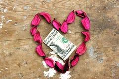 Donation d'argent dans la conception de coeur Images libres de droits