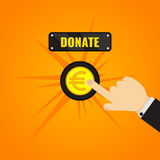 Donation Euro Button. Man pressing donate button with euro sign. Giving money, fundraising business concept. Financial contribution to charity online. Helping Stock Photography