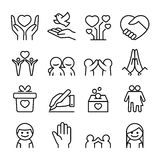 Donation , Giving , protection , friendship , relationship icon. Set in thin line style Royalty Free Stock Images